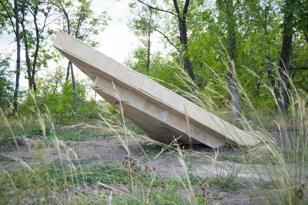 """Раковина"", сталь, дерево, ракушечник, 2014."